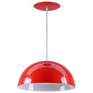 Pendente Meia Lua Meia Bola Esfera Alumínio 34cm - Vermelho