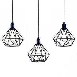 Trio Lustre Luminária Pendente Aramado Diamante Preto