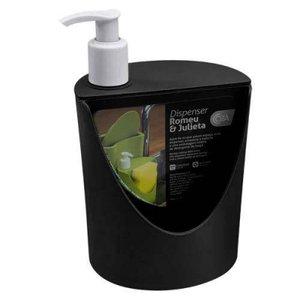 Dispenser Coza Porta Detergente e Esponja 600ml Preto