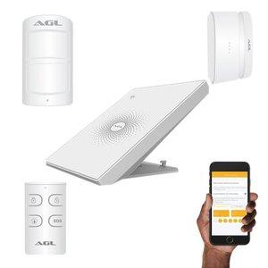 Kit Básico Central de Alarme WiFi AGL AW-PLUS + Sensores + Controle Remoto