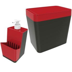 Dispenser Dosador 500ml Detergente Lixeira 5 Litros - Chumbo/Vermelho