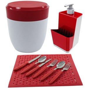 Kit Lixeirinha Dispenser Detergente Grade de Pia Cozinha - Cores - Vermelho