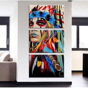 Conjunto de 3 telas quadro decorativo india apache