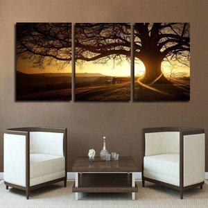 Quadro 75x150cm Árvore Por Sol Decorativo