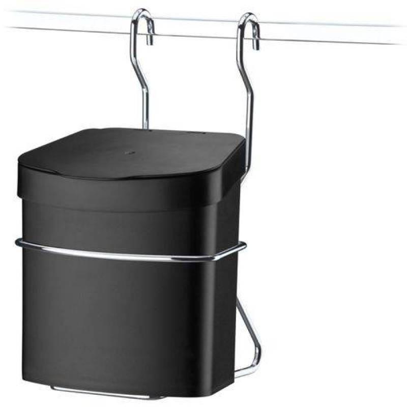 Suporte Com Lixeira 2,5l Para Barra De Cozinha Aço Cromado Preta