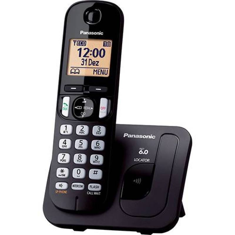 Telefone Fixo Sem Fio Panasonic Dect 6.0 1,9 Ghz Kx-Tgc210Lbb Preto