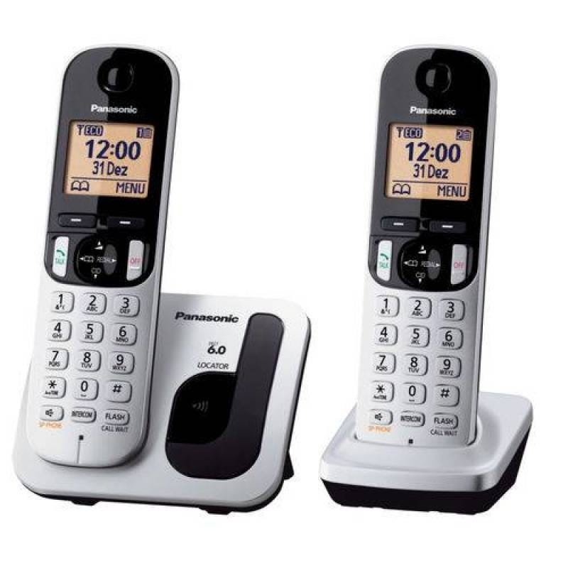 Telefone Sem Fio Kx-tgc212lb + 1 Ramal Prata Panasonic