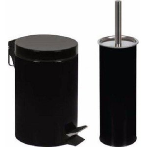 Kit Conjunto Para Banheiro Com Lixeira 3l Com Pedal E Escova Higienica Para Vaso Sanitario Preta Aga