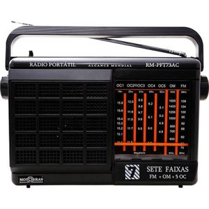 Rádio Portátil Motobras, 7 Fxs., AM/FM/OC e Som da TV, Pilha e Luz
