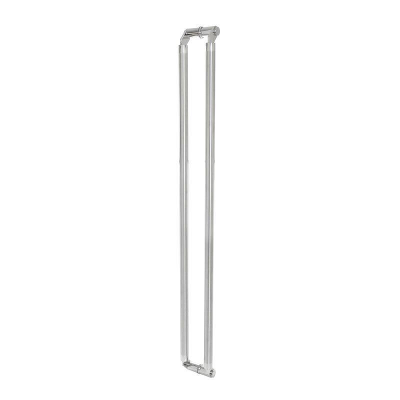 Puxador duplo tubular modelado de aço inox alto padrão - 1,80 m para porta madeira