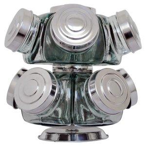 Baleiro de vidro giratório mini 10 potes tampas de alumínio