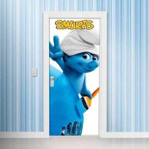 Adesivo Decorativo de Porta - Smurfs 2 - M 80x210 cm