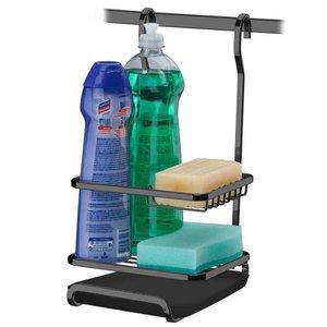 Porta Detergente Sabão e Esponja Para Barra Luxo Com Bandeja - Ônix