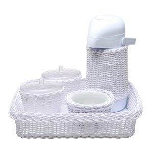 Kit Higiene Vime Branco Quarto Bebê Infantil Menina Menino