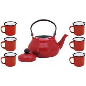 Conjunto Esmaltado Chaleira Tradicional Vermelho 1500ml com 6 Mini Canecas - Yazi