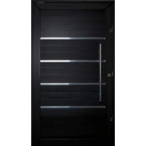Porta Pivotante de Aluminio Lambril Black Tie 2,10 X 0,90 Com Frisos Puxador e Kit Fechadura