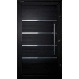 Porta Pivotante de Aluminio Lambril Black Tie 2,10 X 1,00 Com Frisos Puxador e Kit Fechadura