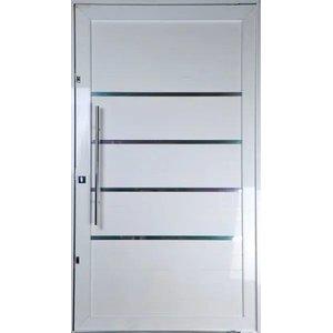 Porta Pivotante de Alumínio Lambril Cor Branco 2,10 X 1,00 Com Frisos Puxador e Kit Fechadura