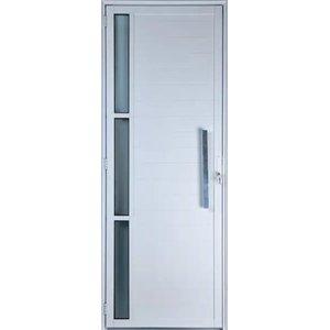 Porta De Alumínio Lambril Com Visor e Puxador Cor Branco 2,10 X 0,80 Esquerda Linha All Soft