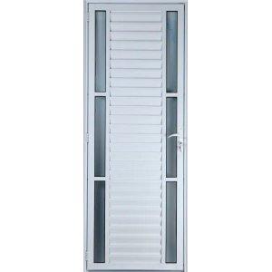 Porta De Alumínio Palheta Com Visor Duplo 2,10 X 0,80 Esquerda Linha All Soft Cor Branco