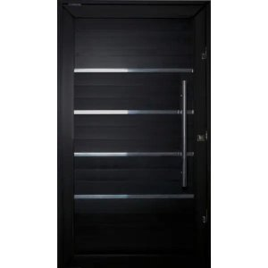 Porta Pivotante de Aluminio Lambril Black Tie 2,40 X 1,20 Com Frisos Puxador e Kit Fechadura