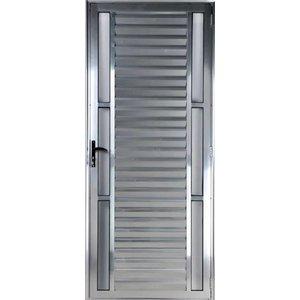 Porta De Alumínio Palheta Visor Duplo 2,10 X 0,80 Direita Linha All Soft Cor Brilhante