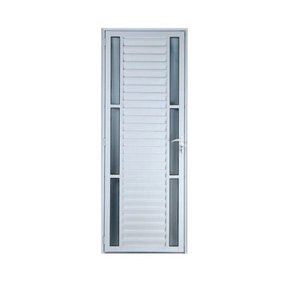 Porta De Alumínio Palheta Com Visor Duplo 2,10 X 0,80 Direita Linha All Soft Cor Branco
