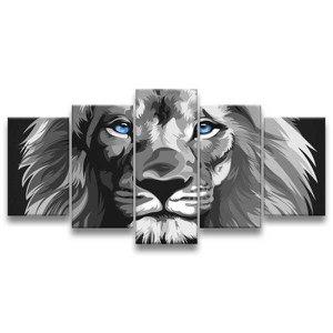 Quadro Decorativo 129x63 Quarto Leão Luxo P & B Olhos Azuis