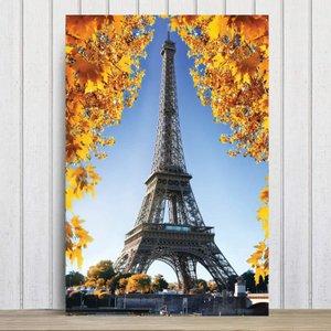 Placa Decorativa Foto Paris Torre Eiffel e Flores MDF 30x40