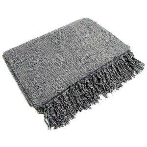 Manta Para Sofá Em Algodão Cinza Mesclado 2,40 X 1,80