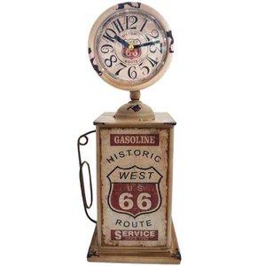 Relógio De Mesa Retrô Bomba De Gasolina Branca Pequena