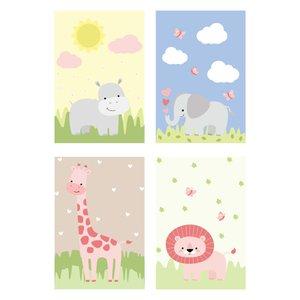 Placa Decorativa Infantil Safari Menina Kit 4un 20x30cm