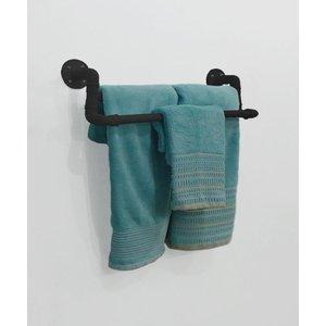 Toalheiro Duplo Porta Toalhas de Parede Acessório para Banheiro Estilo Industrial - Preto Laca