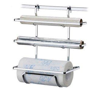 Suporte Para Papel Toalha, Rolo de Alumínio E Filme de PVC Para Barra De Cozinha - Aço Cromado