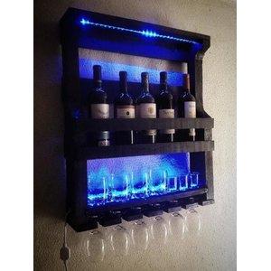Bar Adega de Parede Rústico Com Fita de LED, Suporte Para Copos e Taças