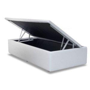 Cama Box baú solteiro corino branco com pistao a gás