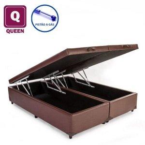 Cama Box Baú Queen size Bi partida em Corino marrom com Pistão a gás - 158x198x27