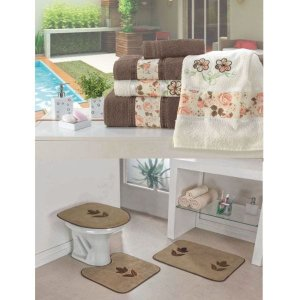 Kit Decoração Banheiro = Toalhas de Banho Passione + Jogo de Tapete Tulipa - Castor Tabaco