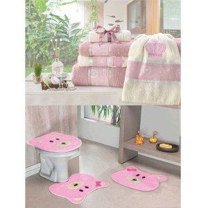 Kit Decoração Banheiro = Toalhas de Banho Coroa + Jogo de Tapete Ursinha - Rosa