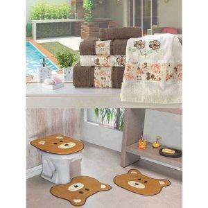 Kit Decoração Banheiro = Toalhas de Banho Passione + Jogo de Tapete Ursinho - Caramelo Tabaco