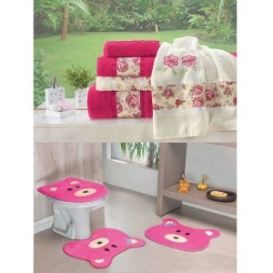 Kit Decoração Banheiro = Toalhas de Banho Passione + Jogo de Tapete Ursinha - Pink