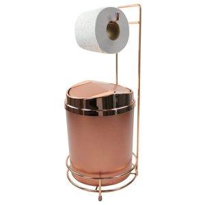 Suporte Para Papel Higiênico com Lixeira Basculante Rosé Gold