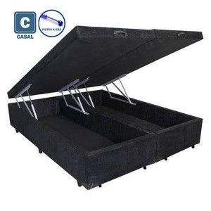 Cama Box Casal com Bau Pistão a gás preto suede Bipartido - 138x188