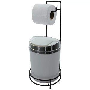 Suporte Para Papel Higiênico Preto Lixeira 5 Litros Basculante Prata - Branco