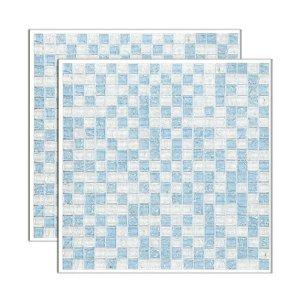 Pastilha de vidro Galliano placa 31x31cm azul e branco Glass Mosaic