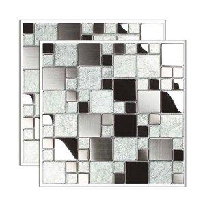 Pastilha de aço Inox placa 29,8x29,8cm prata Glass Mosaic