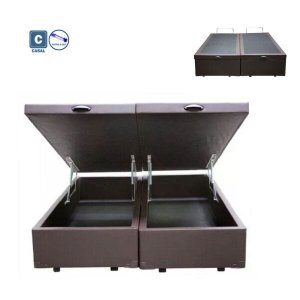 Cama Box Casal com Bau Pistão a gás corino marrom Bipartido - 138x188
