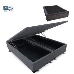 Cama Box Casal com Bau Pistão a gás cinza suede Bipartido - 138x188