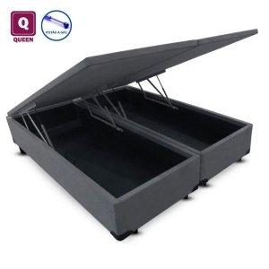 Cama Box QUEEN SIZE com Bau Pistão a gás cinza suede Bipartido - 158x198x27