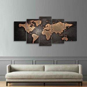 Quadro Mapa Mundi Mosaico 5 Peças Sala Quarto Escritórios